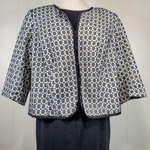 eyelet embroidered short sleeve clasp front jacket
